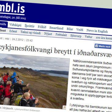 Reykjanesfólkvangi breytt í iðnaðarsvæði