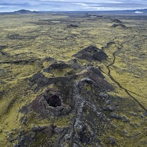 Horft yfir hluta gígaraðarinnar frá suðri.