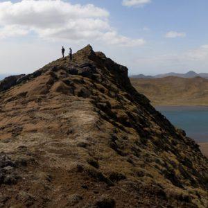 Göngufólk á Núpshlíðarhálsi.